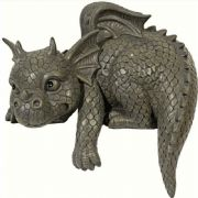 Comical Garden Dragon Edge Shelf Sitter Sculpture Statue Ornament